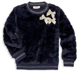 Lili Gaufrette Little Girl's Glitter Faux Fur Sweatshirt