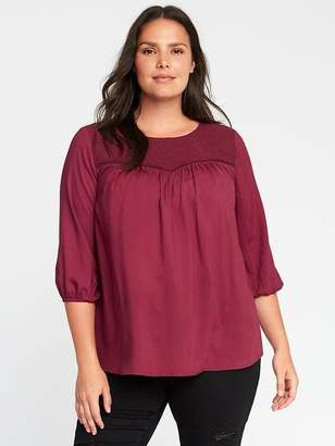 Old Navy Plus-Size Embroidered-Yoke Blouse