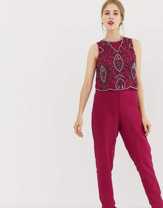 Frock and Frill tailored jumpsuit with embellished upper