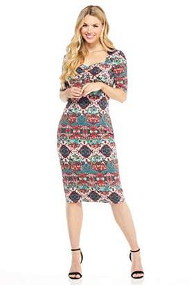 London Times Women's Elbow Sleeve Sweetheart Neck MIDI Sheath Dress