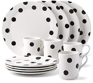 Kate Spade Deco Dot 12 Piece Dinnerware Set, Black/White