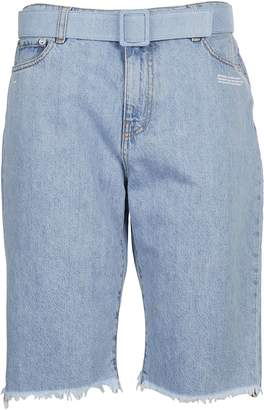 Off-White Off White Belted Denim Shorts