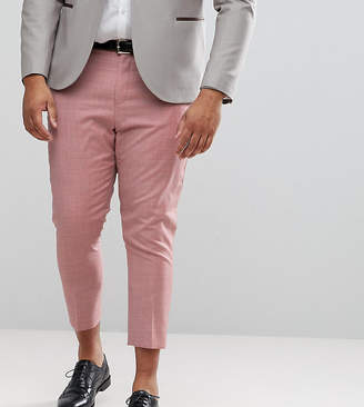 Asos Design PLUS WEDDING Tapered Smart Trousers In Pink 100% Wool