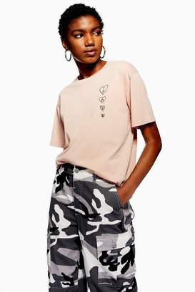 Topshop Vertical Love Heart T-Shirt
