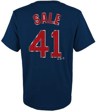 Majestic Boys 8-20 Boston Red Sox Chris Sale Metal Grid Player Name and Number Tee