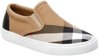 Burberry Girls' House Check & Leather Slip-On Trainer