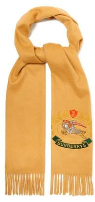 Burberry - Crest Embroidered Cashmere Scarf - Mens - Camel