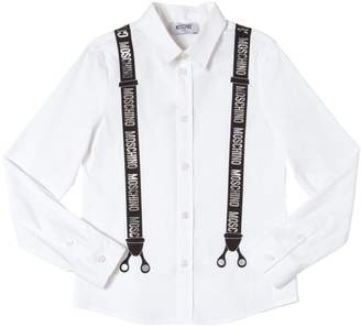 Moschino Suspenders Print Cotton Poplin Shirt