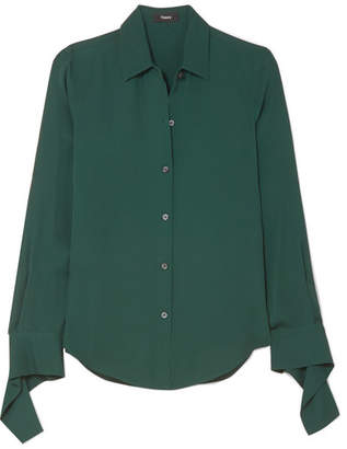 Theory Silk-crepe Shirt - Dark green