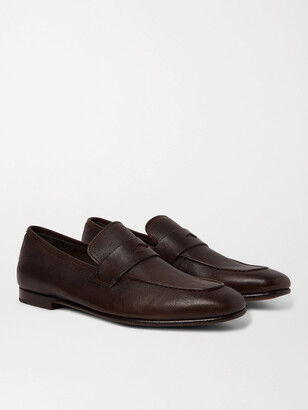 Dunhill Textured-Leather Penny Loafers - Men - Brown