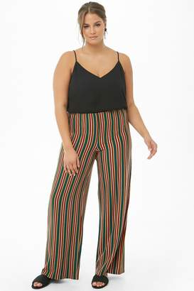 66ab576140d Forever 21 Plus Size Multicolor Striped Palazzo Pants
