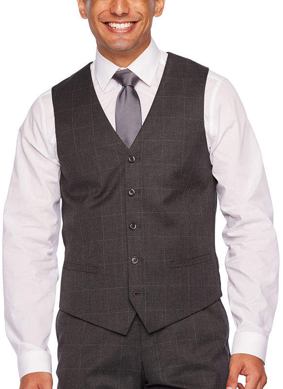 JF J.Ferrar Windowpane Slim Fit Suit Vest