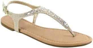 Bella Marie Women's T Strap Thong Gladiator Strappy Rhinestone Glitter Flip Flops Sandals (7, )