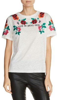 Women's Maje Floral Embroidered Linen Tee $155 thestylecure.com