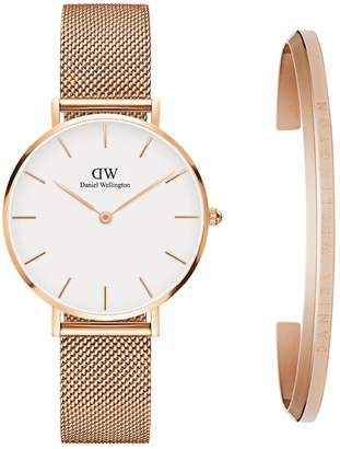 Daniel Wellington Classic Petite Mesh Strap Watch & Cuff Gift Set, 32mm