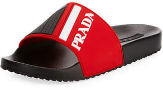 64b845a68661 Prada Men s Logo Rubber Slide Sandals