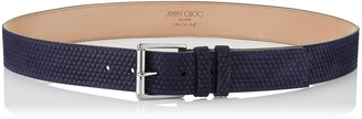 Jimmy Choo ARCHER Navy Triangle Embossed Suede Belt