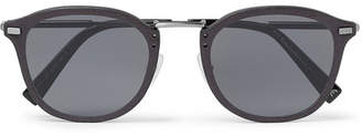 Ermenegildo Zegna D-Frame Leather-Trimmed Acetate And Gunmetal-Tone Sunglasses