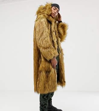 Asos DESIGN x LaQuan Smith oversized hooded faux fur coat