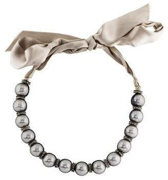 Lanvin Bow and faux-pearl embellished necklace Ia233I