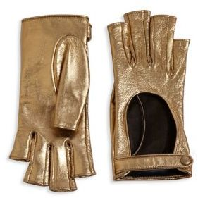 Gucci Gucci Donna Metallic Leather Fingerless Gloves