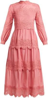 Vilshenko Juliette scallop-edged cotton-blend dress