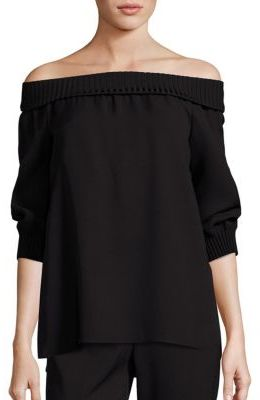 Lafayette 148 New York Marlo Silk Off-The-Shoulder Blouse $448 thestylecure.com