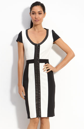 Rachel Roy Colorblock Leather Trim Dress