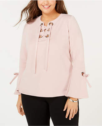 INC International Concepts I.n.c. Plus Size Lace-Up Bell-Sleeve Sweatshirt, Created for Macy's