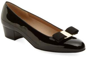 Salvatore Ferragamo Women's Vara Patent Leather Block Heel Pump