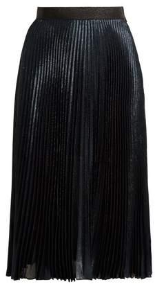 Christopher Kane - Dna Pleated Lamé Skirt - Womens - Blue