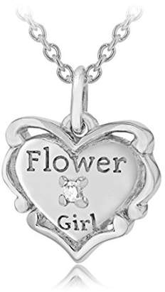 Lily & Lotty for Girls Lily & Lotty Girl's Silver Rhodium Plated Fleur Heart pendant on a Trace Chain of Length