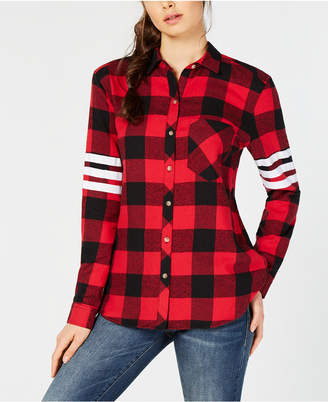 Project 28 Nyc Cotton Plaid Striped-Sleeve Shirt