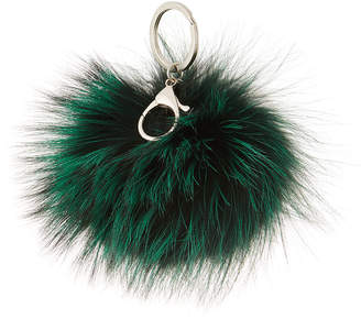 Adrienne Landau Fox Fur Pompom Keychain