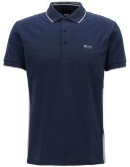BOSS Hugo Regular-fit polo shirt in suede-effect cotton jersey XXL Dark Blue
