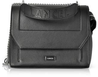 Lancel Ninon Round Black Leather Medium Flap Bag