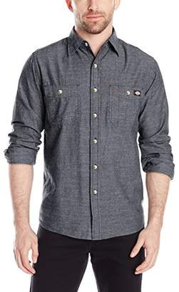Dickies Men's Long Sleeve Printed Chambray Shirt