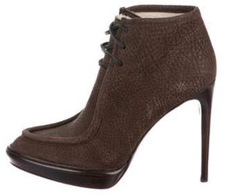 Burberry Leather Round-Toe Ankle Boots Brown Leather Round-Toe Ankle Boots