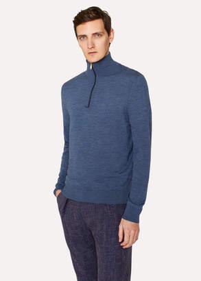 Paul Smith Men's Slate Blue Funnel Neck Merino Wool Half-Zip Sweater