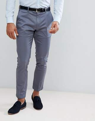Burton Menswear Skinny Smart Trouser With Belt In Blue Sateen