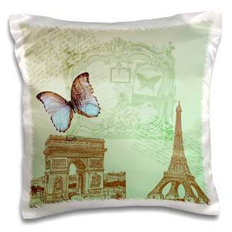 3dRose Vintage Paris Butterfly- Eiffel Tower - Pillow Case, 16 by 16-inch