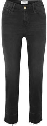 Frame Le Nouveau High-rise Straight-leg Jeans - Dark gray