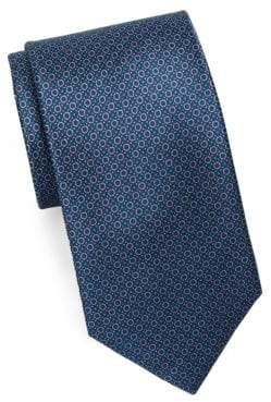 Brioni Mini Circle Print Silk Tie