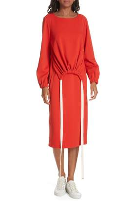 Tibi Mercer Knit Ruched Front Tie Dress