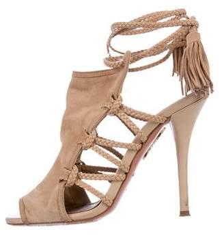Aquazzura Sahara 105 Suede Sandals