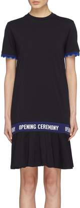 Opening Ceremony Logo jacquard scalloped cuff peplum T-shirt dress