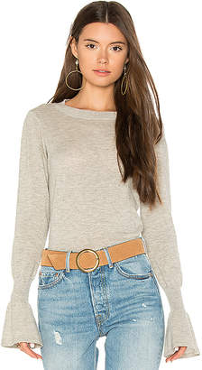 Autumn Cashmere Ruffle Sleeve Crew Sweater in Gray $264 thestylecure.com