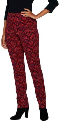 Isaac Mizrahi Live! Regular 24/7 Stretch Scroll Damask Print Pants