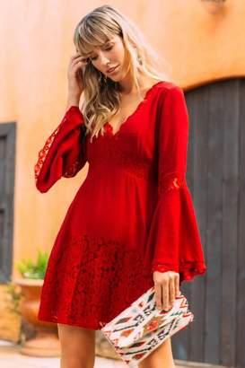francesca's Marissa Lace Shift Dress - Brick