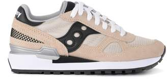 Saucony Shadow Pink And Black Suede And Fabric Sneaker